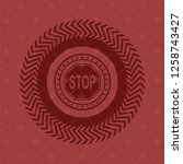 stop icon inside badge with red ...   Shutterstock .eps vector #1258743427