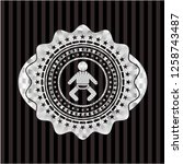 baby icon inside silvery badge...   Shutterstock .eps vector #1258743487