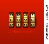 love opens heart. combination... | Shutterstock .eps vector #125875625