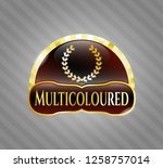 gold badge with leaf crown...   Shutterstock .eps vector #1258757014