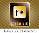 shiny badge with safe  safety...   Shutterstock .eps vector #1258763581