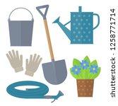 garden tool set. vector... | Shutterstock .eps vector #1258771714