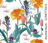 seamless pattern with image of... | Shutterstock .eps vector #1258773511