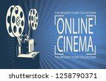 online cinema poster with retro ... | Shutterstock .eps vector #1258790371