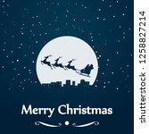 santa sleigh silhouette at moon | Shutterstock .eps vector #1258827214