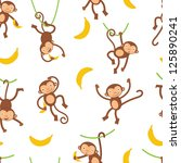 a cute monkeys seamless pattern | Shutterstock .eps vector #125890241