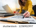 business documents on office... | Shutterstock . vector #1258902997