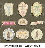 Vintage Travel Labels On Old...