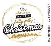 merry christmas. typography.... | Shutterstock .eps vector #1258950097
