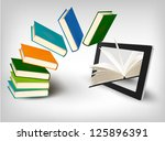 books flying in a tablet.... | Shutterstock .eps vector #125896391