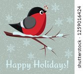 greeting card with cute bird... | Shutterstock .eps vector #1259016424