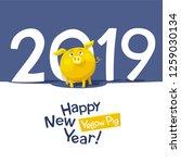 yellow pig   chinese zodiac... | Shutterstock .eps vector #1259030134
