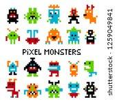 pixel invaders. computer pixel... | Shutterstock . vector #1259049841