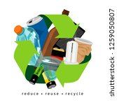 recycling label with trash and... | Shutterstock . vector #1259050807