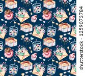 seamless pattern  watercolor...   Shutterstock . vector #1259073784
