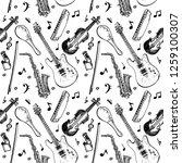 musical instruments seamless...   Shutterstock .eps vector #1259100307