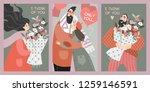 set of vector valentines day... | Shutterstock .eps vector #1259146591