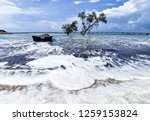 the waves of the sea produce... | Shutterstock . vector #1259153824
