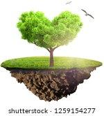 green grass island with tree... | Shutterstock . vector #1259154277