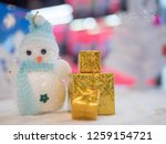 close up gift box with snow man ... | Shutterstock . vector #1259154721