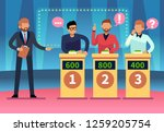game quiz show. clever young... | Shutterstock .eps vector #1259205754