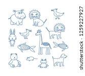 children's doodle animals set.... | Shutterstock .eps vector #1259227927