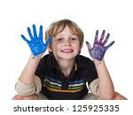 elementary boy with painted... | Shutterstock . vector #125925335