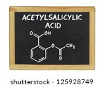 Small photo of chemical formula of acetylsalicylic acid on a blackboard