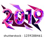 concept of  happy 2019 new year.... | Shutterstock .eps vector #1259288461