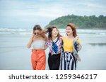 crowd of people or friends runs ...   Shutterstock . vector #1259346217