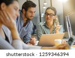 colleagues workshopping... | Shutterstock . vector #1259346394