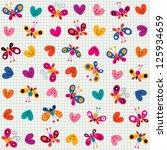 Butterflies   Hearts Pattern