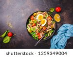 tuna salad with pasta  olives ... | Shutterstock . vector #1259349004