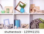 beautiful white shelves with... | Shutterstock . vector #125941151