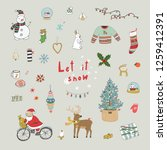 christmas objects illustrations ... | Shutterstock . vector #1259412391