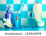 bath accessories on shelf in... | Shutterstock . vector #125942099