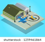 private airport concept banner. ... | Shutterstock .eps vector #1259461864