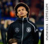 Small photo of GELSENKIRCHEN - NOV 19, 2018: Leroy Sane 19 close up portrait. Germany - Netherlands. UEFA Nations League. Schalke 04 stadium.