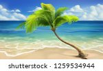 sea beach. realistic vector... | Shutterstock .eps vector #1259534944