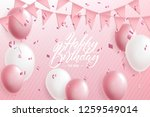 happy birthday greeting or... | Shutterstock .eps vector #1259549014