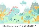 greeting card. prehistoric... | Shutterstock .eps vector #1259589037