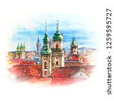 watercolor sketch of old town... | Shutterstock . vector #1259595727
