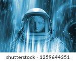 Helmet Spaceman On Blue...