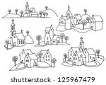 Hand Drawn Houses Or Rural...