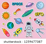 cute patches set with space... | Shutterstock .eps vector #1259677387