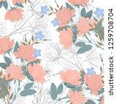 vintage flower illustration  | Shutterstock . vector #1259708704
