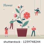 people who grow flower pots... | Shutterstock .eps vector #1259748244