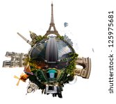 Small photo of Planet Paris - Miniature planet of Paris, France, with all important buildings and attractions of the city, isolated on white