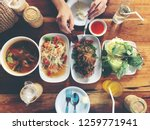 top view thai food on table ... | Shutterstock . vector #1259771941