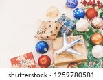 christmas background on the... | Shutterstock . vector #1259780581